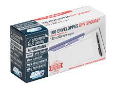 GPV Secure - 100 Enveloppes DL+ 112 x 225 mm - 90 gr - sans fenêtre - blanc - autocollante