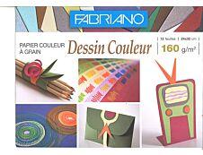 FABRIANO - Papier dessin couleur - 12 feuilles 24 x 32 cm - 160G