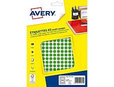 Avery - Etui A5 - 2940 Pastilles adhésives - vert - diamètre 8 mm