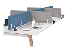 Écran de séparation acoustique pour bureau - L120 x H43 cm - bleu chiné