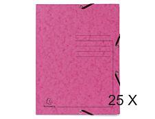 Exacompta - 25 Chemises à 3 rabats imprimées - A4 - rose