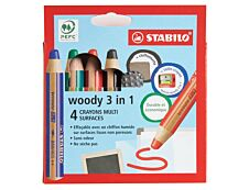 STABILO Woody 3 in 1 - Pack de 4 crayons pointe large pour ardoise - avec taille-crayon et chiffonnette - couleurs assorties