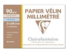 Clairefontaine - Pochette papier à dessin millimétré velin - 12 feuilles - A4 - 90G