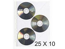 Exacompta - 25 Packs de 10 Pochettes perforées pour CD - A4 - 11/100