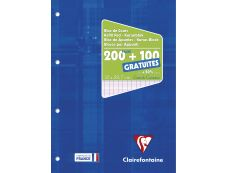 Clairefontaine - Bloc de cours - A4 - 300 pages - grands carreaux (Seyes) - perforé