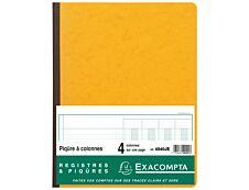 Exacompta - Piqûre comptable - 4 colonnes par page - 32 x 25 cm - 80 pages - jaune
