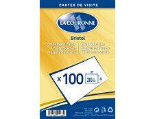 La Couronne - 100 Cartes bristol en coffret cristal - 128 x 82mm - 210 gr - blanc