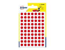 Avery - 490 Pastilles adhésives - rouge - diamètre 8 mm
