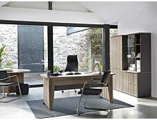 Bureau compact à droite JAZZ+ - 160 cm - Pieds panneaux - Chêne gris