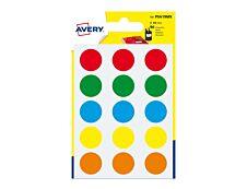 Avery - 90 Pastilles adhésives - couleurs assorties - diamètre 19 mm