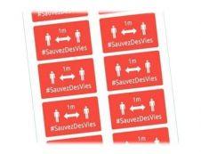 Avery - 20 Badges adhésifs rectangulaires - distanciation sociale - rouges