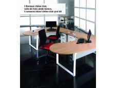 Bureau LOFTER Manager retour à droite - L200 cm - Plateau imitation Erable - Pied blanc (Pieds de renfort obligatoire non inclus)