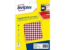 Avery - Etui A5 - 2940 Pastilles adhésives - rouge - diamètre 8 mm