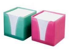 Quo Vadis - Bloc Cube avec support plexi porte notes - blanc