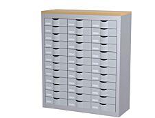 Meuble de rangement - 3 colonnes et 36 tiroirs - H106,5 x L87 x P33,5 cm - argent