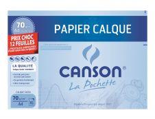 Canson - Pochette papier à dessin calque - 12 feuilles - A4 - 70G (format spécial)