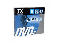 TX - 5 DVD+R avec boîtiers slim - 4,7 Go