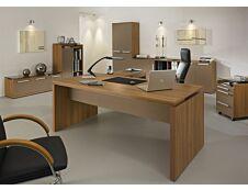 Bureau bois SLIVER - 190 cm - Pieds panneaux - Noyer et bronze