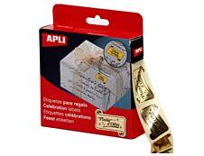 Agipa - 18 Étiquettes Plaisir d'offrir impression noir sur fond or - 25 x 50 mm