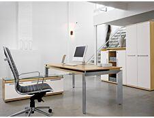 Bureau bois SLIVER avec voile de fond - 190 cm - Pieds métal - Chêne fil et blanc