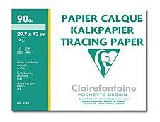 Clairefontaine - pochette papier à dessin  calque - 10 feuilles - A3 - 90G - blanc