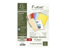 Exacompta Forever 180 - 50 Chemises - 170 gr - pour 200 feuilles - couleurs assorties