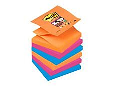 Post-it - 6 Blocs Z-Notes Super Sticky Bangkok - 3 couleurs fluos assorties - 76 x 76 mm