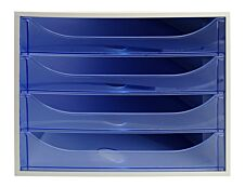 Exacompta Ecobox - Module de classement 4 tiroirs - gris/bleu glacé transparent