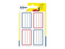 Avery - 24 Étiquettes scolaires blanches lignées bleu/rouge - 36 x 56 mm