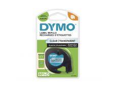 Dymo LetraTAG - Ruban d'étiquettes plastique auto-adhésives - 1 rouleau (12 mm x 4 m) - fond transparent écriture noire