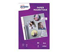 Avery - Papier Magnetique brillant - A4 - 3 feuilles - impression jet d'encre