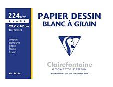 Clairefontaine Dessin à Grain - Pochette papier à dessin - 10 feuilles - A3 - 224 gr - blanc