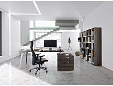 Bureau XENON avec bloc de rangement 2 tiroirs - 190 cm - Pieds métal - Chêne royal