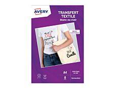 Avery - Papier transfert sur T-shirt/Textile clair - 8 feuilles A4 - impression jet d'encre