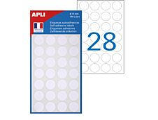 Apli Agipa - 196 Pastilles adhésives - blanc - diamètre 15 mm - réf 111840