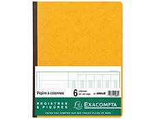 Exacompta - Piqûre comptable - 6 colonnes par page - 32 x 25 cm - 80 pages - jaune