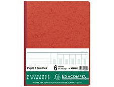 Exacompta - Piqûre comptable - 6 colonnes par page - 32 x 25 cm - 80 pages - rouge