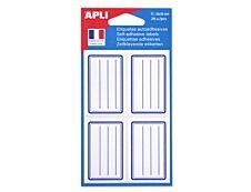 Apli - 20 Étiquettes scolaires cadre et lignes bleus - 36 x 56 mm - réf 11277