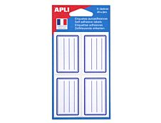 Apli Agipa - 20 Étiquettes scolaires cadre et lignes bleus - 36 x 56 mm - réf 11277