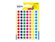 Avery - 420 Pastilles adhésives - couleurs assorties - diamètre 8 mm
