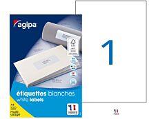 Apli Agipa - 100 Étiquettes adhésives blanches multi-usages - 210 x 297 mm - Coins droits - réf 119004
