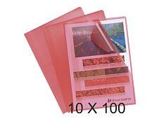 Exacompta - 10 Packs de 100 Pochettes coin grainées - A4 - 12/100 - rouge