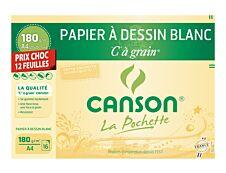 Canson C à Grain - Pochette papier à dessin - 12 feuilles - A4 - 180 gr - blanc