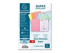 Exacompta Super 60 - 30 Sous-chemises - 60 gr - pour 100 feuilles - couleurs pastels assorties