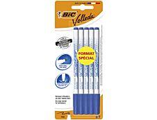 BIC VELLEDA 1721 - Pack de 5 - Marqueurs effaçables format spécial - pointe fine - bleu