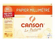 Canson - Pochette papier à dessin millimétré - 12 feuilles - A4 - 90G (format spécial)