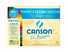 Canson - Pochette papier à dessin - 8 feuilles - A3 - 160 gr - couleurs vives