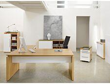 Bureau bois SLIVER - 190 cm - Pieds panneaux - Chêne fil et blanc