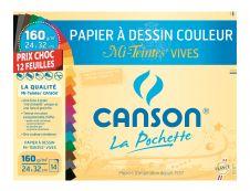 Canson - Pochette papier à dessin - 12 feuilles - 24 x 32 cm - 160 gr - mi-teintes vives