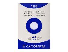 Exacompta - Pack de 100 Fiches Bristol - A4 - unies - non perforées - blanc
